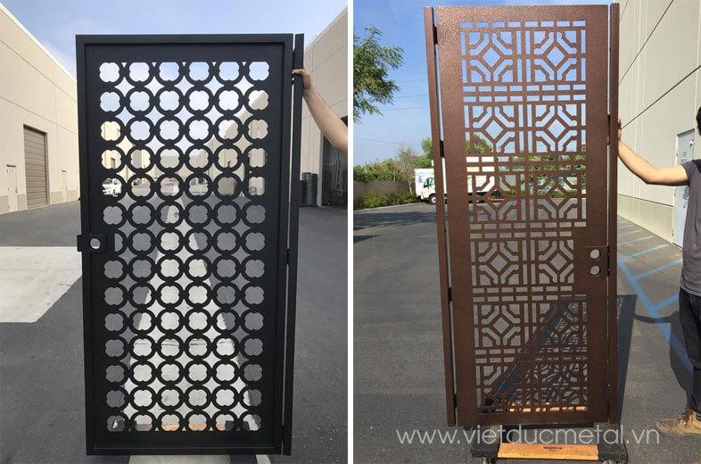Cửa cổng sắt cnc 1 cánh họa tiết đơn giản