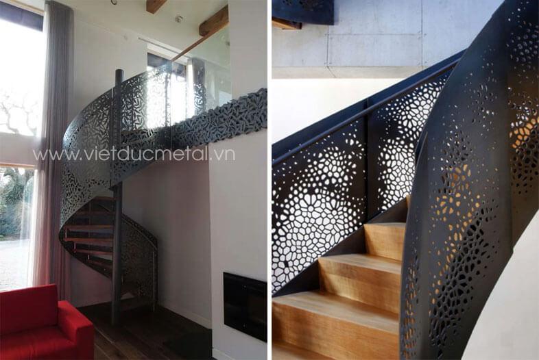 Lan can cầu thang sắt hiện đại