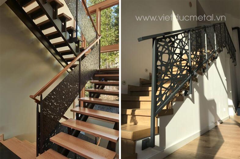 Lan can cầu thang sắt đơn giản